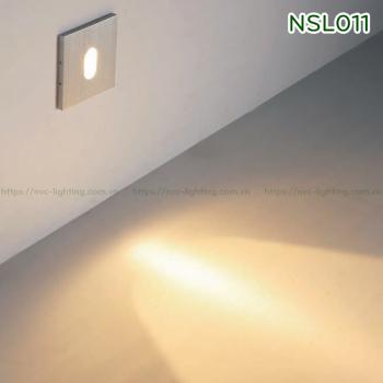 NSL011 NSL013 1W - Đèn chân cầu thang trong nhà mặt vuông nhôm xước, Ra 80, độ sáng 70lm, góc chiếu 60 độ hoặc 30 độ, IP20