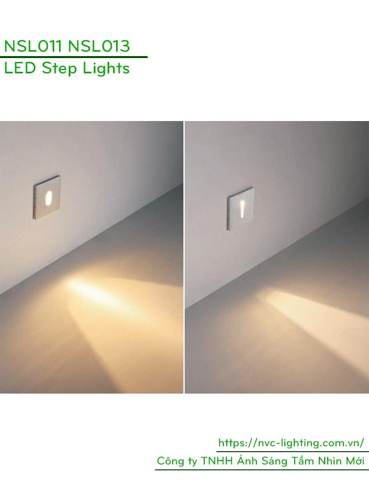 NSL011 NSL013 1W - Đèn chân cầu thang trong nhà mặt vuông nhôm xước, Ra > 80, độ sáng 70lm, góc chiếu 60 độ và 30 độ, IP20