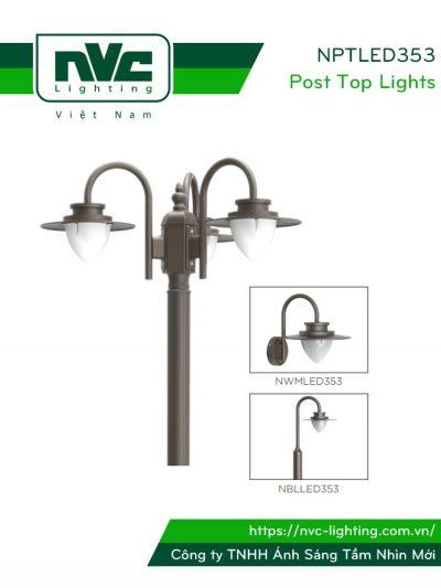 NPTLED353 24W – Đèn cột sân vườn chip Cree COB 3 bóng, cấp bảo vệ IP54, cao 2.4m, độ sáng 1.900 lumens, 110V-240V, tuổi thọ 30.000 giờ