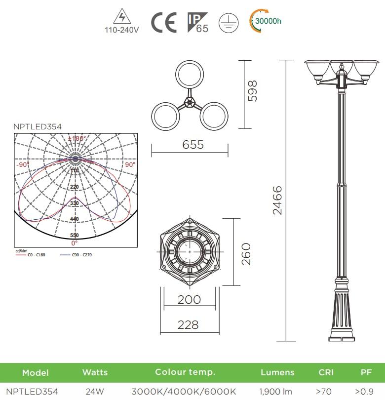 NPTLED354 24W – Đèn cột sân vườn chip Cree COB 3 bóng, cao 2.4m, quang thông 1.900 lumens, 110V-240V, tuổi thọ 30.000 giờ, cấp bảo vệ IP54