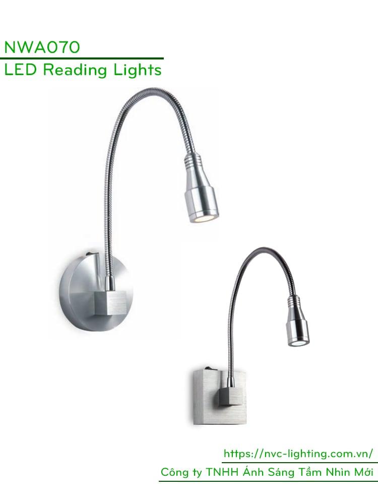 NWA070 – Đèn đọc sách gắn nổi đầu giường công suất 3W, Ra > 80, độ sáng 120lm, góc chiếu 30 độ, IP20