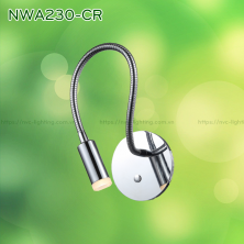 NWA230-CR - Đèn đọc sách cá nhân gắn đầu giường 3W 170lm, màu chrome mặt gương, lắp âm tường, góc chiếu 30 độ, công tắc cảm ứng chạm tắt bật, chip Cree chống cận, không gây mỏi mắt