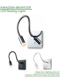 NWA230A-CR/BK/WT - Đèn đọc sách cá nhân 3W 170 lm lắp âm tường, góc chiếu 30 độ, công tắc cảm ứng chạm tắt bật, chip Cree bảo vệ mắt