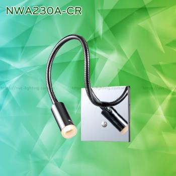 NWA230A-CR/BK/WT - Đèn đọc sách cá nhân 3W 170 lm lắp âm tường, góc chiếu 30 độ, công tắc cảm ứng chạm tắt bật, chip Cree chống cận, thân thiện với mắt