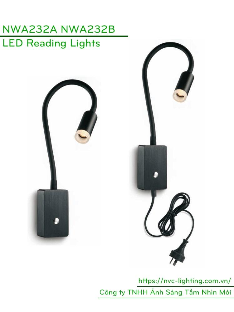NWA232B-BK/WT - Đèn đọc sách cá nhân gắn tường 3W 170 lm, lắp nổi, góc chiếu 30 độ, công tắc cảm ứng chạm tắt bật, chip Cree chống cận, thân thiện với mắt