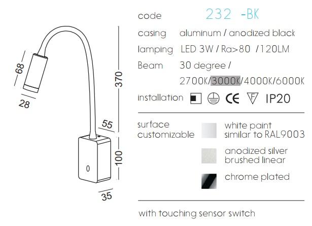 NWA232B-BK/WT - Đèn đọc sách cá nhân gắn tường 3W 170 lm, lắp nổi, góc chiếu 30 độ, công tắc cảm ứng chạm tắt bật, chip Cree bảo vệ mắt