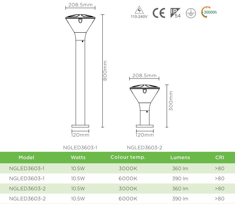NGLED3603 10.5W - Đèn trụ nấm sân vườn IP54, thân hợp kim nhôm cán cao cấp phủ sơn tĩnh điện chống han gỉ, khuếch tán PC mờ chống chói, cao 0.3m hoặc 0.8m