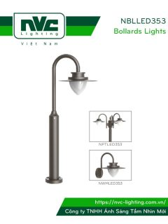NBLLED353 8W – Đèn nấm sân vườn Bollards Lighting IP54, độ sáng 640 lumens, CRI 70, PF 0.9, dải điện áp 110V-240V