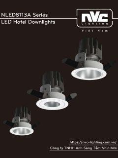 NLED8113A 8W Series - Đèn LED downlight cao cấp lắp âm trần, độ thật CRI 90, bóng ẩn chống chói, 3 phiên bản mặt kính tán quang, góc chiếu 15° 24° 36°, tương thích DALI
