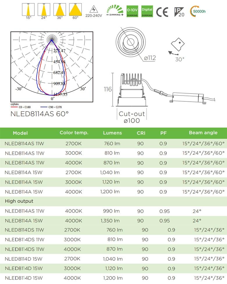 NLED8114 11W 15W Series - Đèn LED downlight khách sạn cao cấp lắp âm trần, độ thật ánh sáng CRI 90, bóng ẩn chống chói, góc chiếu 15° 24° 36° 60°, góc xoay 30°, hệ số công suất PF 0.9 0.95, tương thích DALI