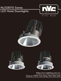 NLED8115 20W 30W Series - Đèn LED downlight khách sạn cao cấp lắp sảnh cao chiếu thẳng hoặc chiếu lệch, độ thật CRI 90, bóng ẩn chống chói, góc chiếu 15° 24° 36° 60°, góc xoay 30°, tương thích DALI