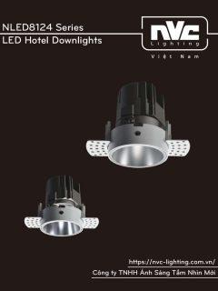 NLED8124 11W 15W Series - Đèn LED downlight khách sạn cao cấp lắp âm trần, độ thật ánh sáng CRI 90, bóng ẩn chống chói, góc chiếu 15° 24° 36°, góc xoay 30°, hệ số công suất PF 0.9, tương thích DALI