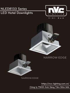 NLED8133 8W Series - Đèn LED downlight khách sạn cao cấp lắp âm trần, mặt đèn dáng vuông, chỉ số hoàn màu CRI 90, bóng ẩn chống chói, góc chiếu 15° 24° 36°, góc xoay 30°, tương thích DALI