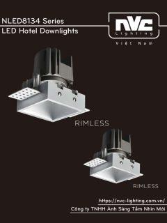 NLED8134 8W Series - Đèn LED downlight khách sạn cao cấp mặt vuông, lắp âm trần, độ thật ánh sáng CRI 90, bóng ẩn chống chói, góc chiếu 15° 24° 36°, góc xoay 30°, tương thích DALI