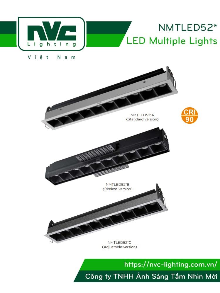 NMTLED52*A NMTLED52*B NMTLED52*C - Đèn LED multiple downlight 3 kiểu dáng thiết kế, CRI 90, công suất từ 3W tới 10x3W, tản nhiệt nhôm cao cấp