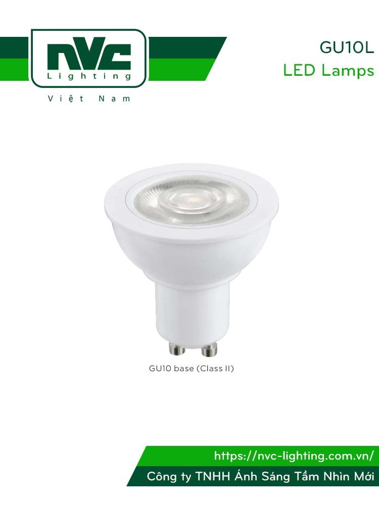 GU10L 7W - Bóng nón LED chân tacte chip COB, góc chiếu 24 độ 38 độ, CRI 80, PF 0.75, điện áp 110V-240V, tương thích DIM