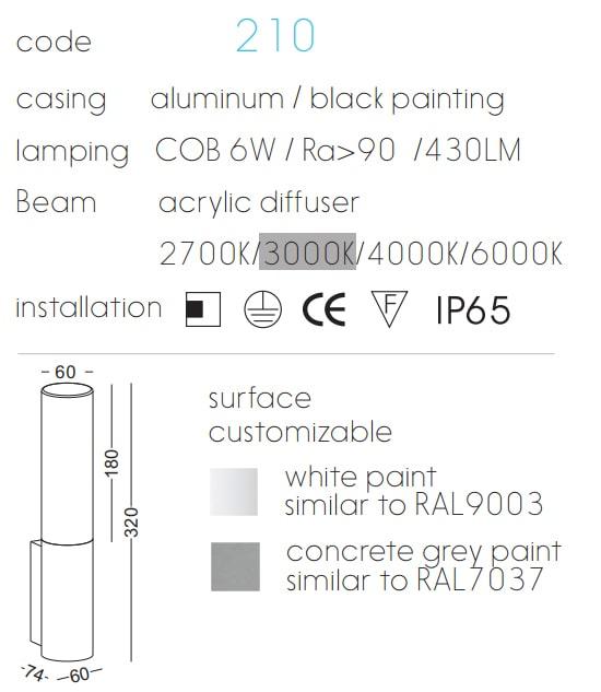 NWA210 – NWA211 6w – Đèn gắn tường trang trí ngoài trời IP65, Ra>90, 430 lm, acrylic mờ chống chói, COB chip