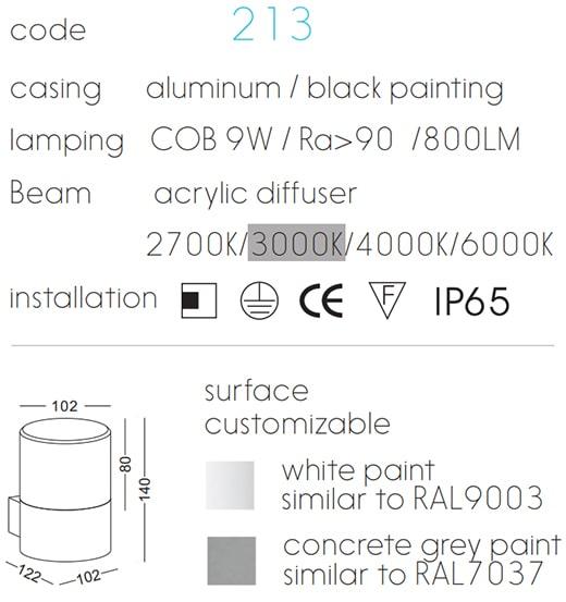 NWA213 – NWA214 9w – Đèn gắn tường trang trí ngoài trời IP65, Ra>90, 800 lm, actylic mờ chống chói, COB chip