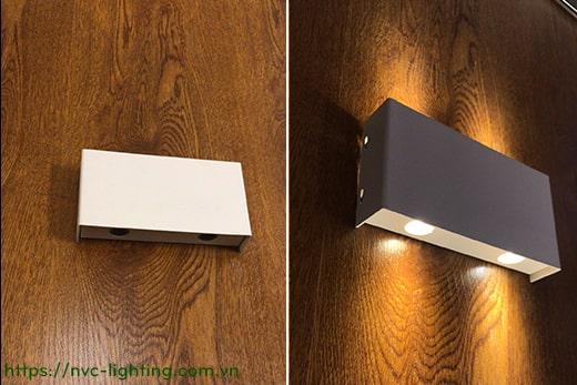 NWA022 2W, NWA024 4W, NWA026 6W - Đèn LED gắn tường trang trí chiếu 2 đầu, 3 kiểu chiếu sáng, độ hoàn màu Ra 80, góc chiếu sáng 30 độ, thân nhôm sơn tĩnh điện, IP20