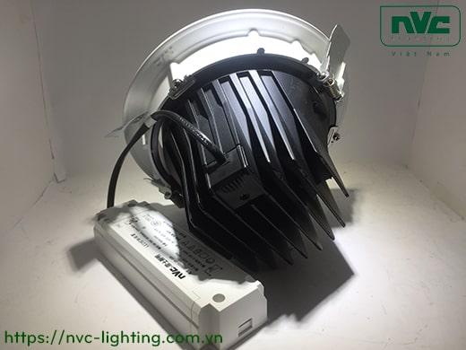 NLED110* Series – Đèn rọi LED âm trần COB nguyên khối, CRI 90, mặt và tản nhiệt bằng nhôm đúc, mặt lõm, DIM