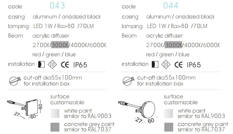 DL043 DL044 1W - Đèn dẫn hướng ngoài trời IP65, độ thật sáng Ra 80, quang thông 70lm, chất liệu nhôm đúc sơn tĩnh điện đen bằng anot hóa